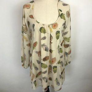 Show Me Your Mumu Tan Feather Print Dress
